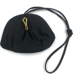 Rodo Black Silk Evening Bag With Gold Hardware
